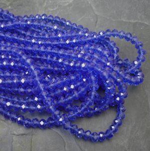 Broušené rondelky cca 6x4mm - modré
