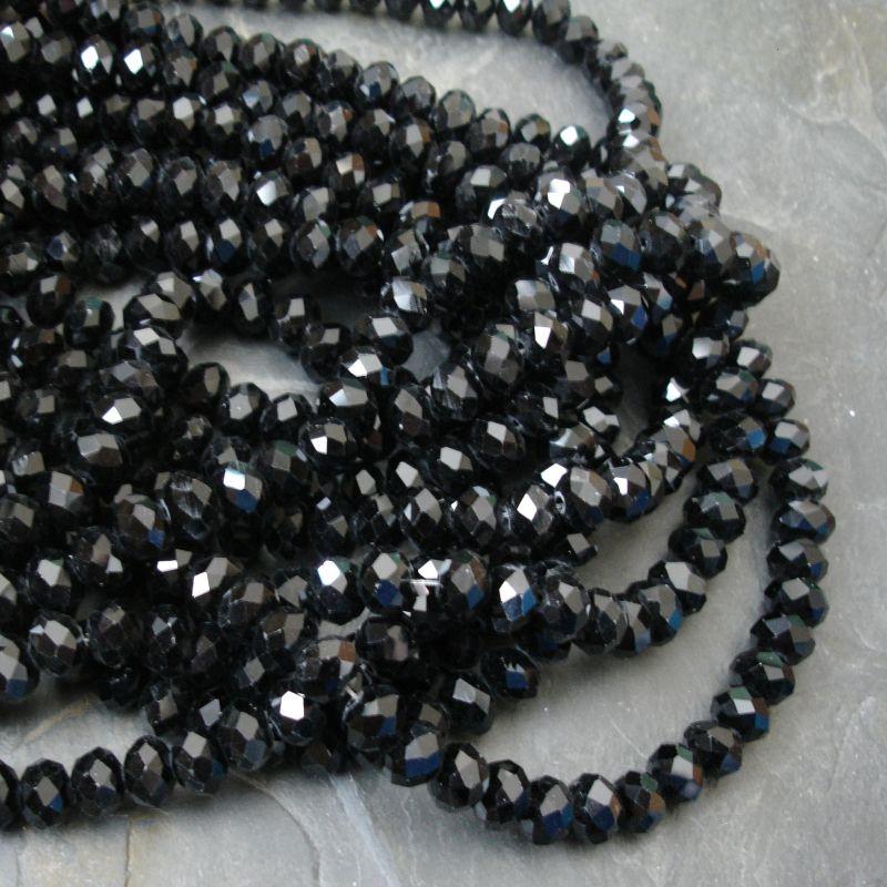 Broušené korálky cca 8x6mm - černé