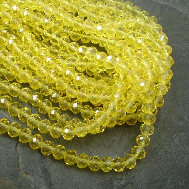 Broušené korálky cca 8x6mm - žluté