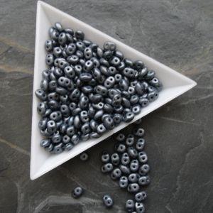 Superduo 2,5x5mm - 23980/84400 - černé + bílý listr MAT