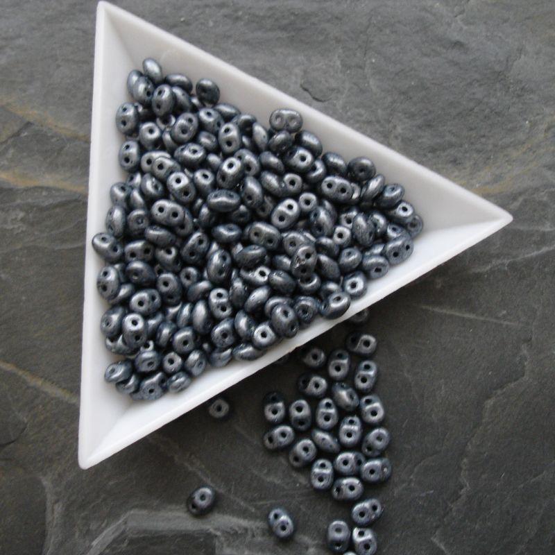 Dvoudírkové korálky Superduo - 23980/84400 - černé + bílý listr MAT - 5 g