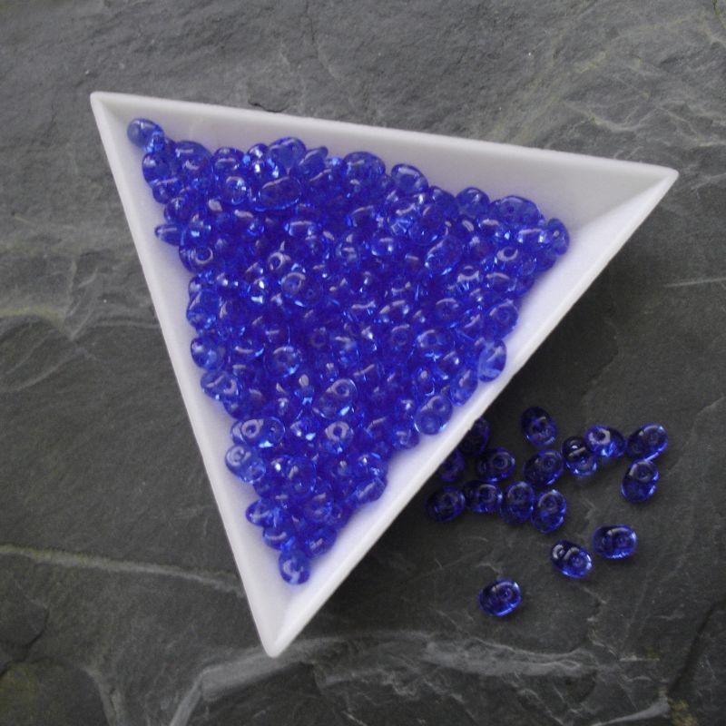 Dvoudírkové korálky Superduo - modré 30060 - 5 g