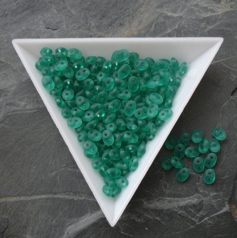 Dvoudírkové korálky Superduo - zelené matné 50720