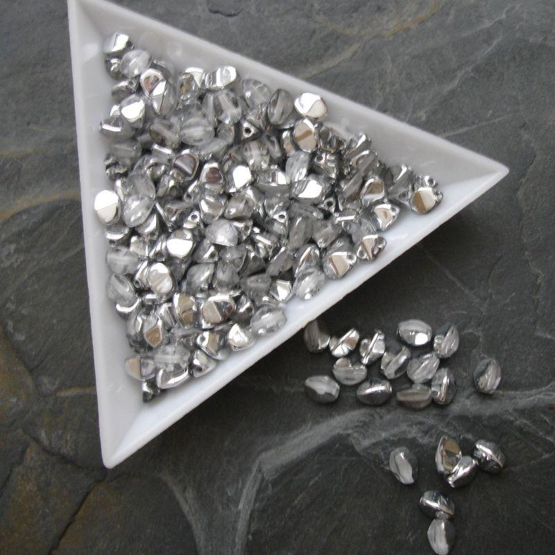 Korálky pohanka 5mm - 00030/27001 - čirá s částečným stříbrným pokovem