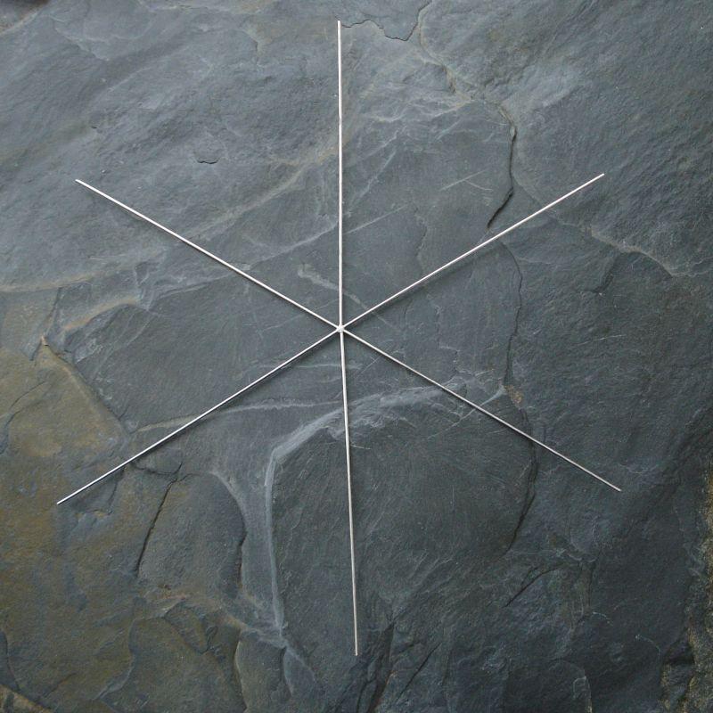 Kovový základ na vločku či hvězdu - cca 15cm - 1 ks