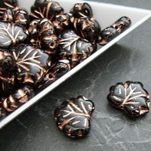 Mačkané korálky lístečky 13x11mm - černé s měděným žilkováním