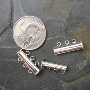Magnetické zapínání třířadé - stříbrné - 1 ks
