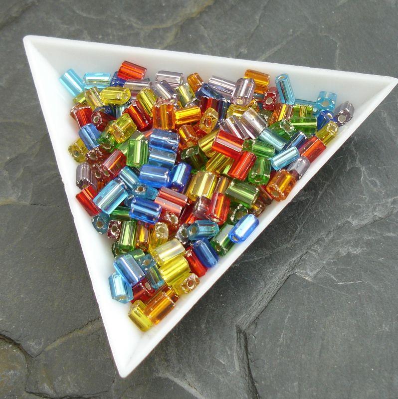 okajl kostičky cca 3-3,3 x 5-5,5 mm - mix duhových barev