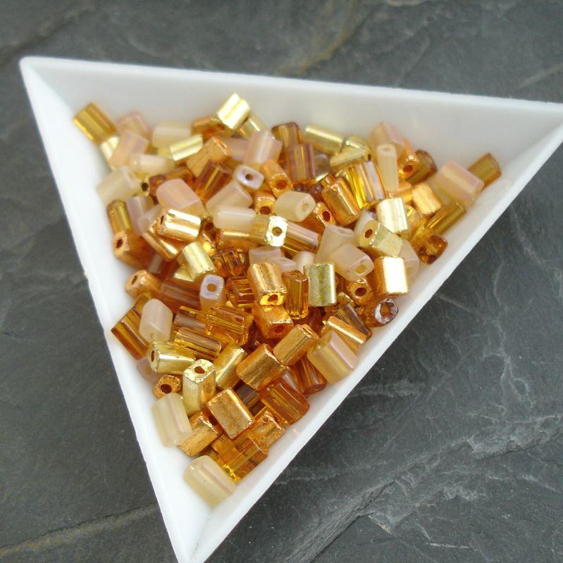 okajl kostičky cca 3-3,3 x 5-5,5 mm - mix zlaté, měděné, oranžové ... - 10 g