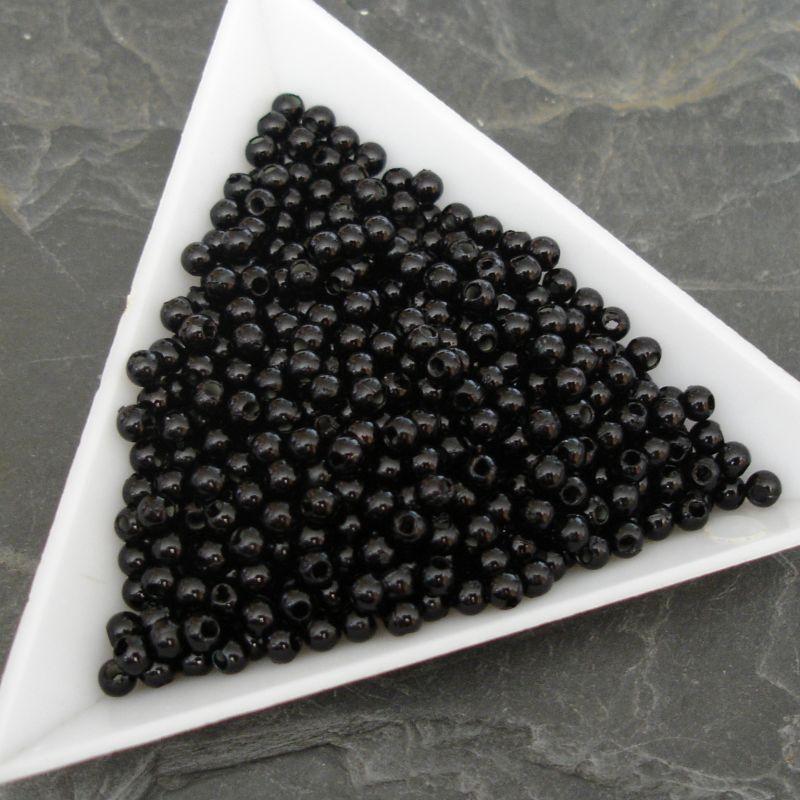 Plastové ( imitace perel ) korálky cca 3 mm - černé - 100 ks