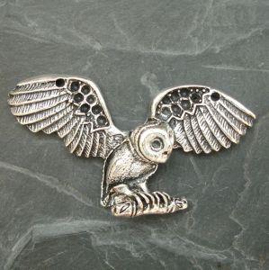 Přívěsek sova 31x60 mm - starostříbrný - 1 ks