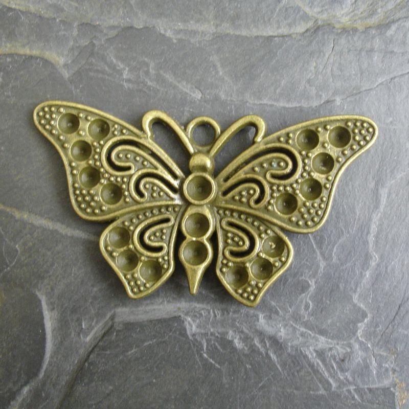 Přívěsěk velký motýl 67x37 mm - starobronzový