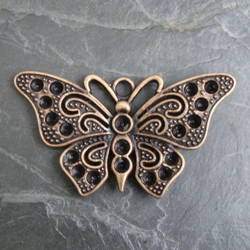 Přívěsěk velký motýl 67x37 mm - staroměděný - 1 ks