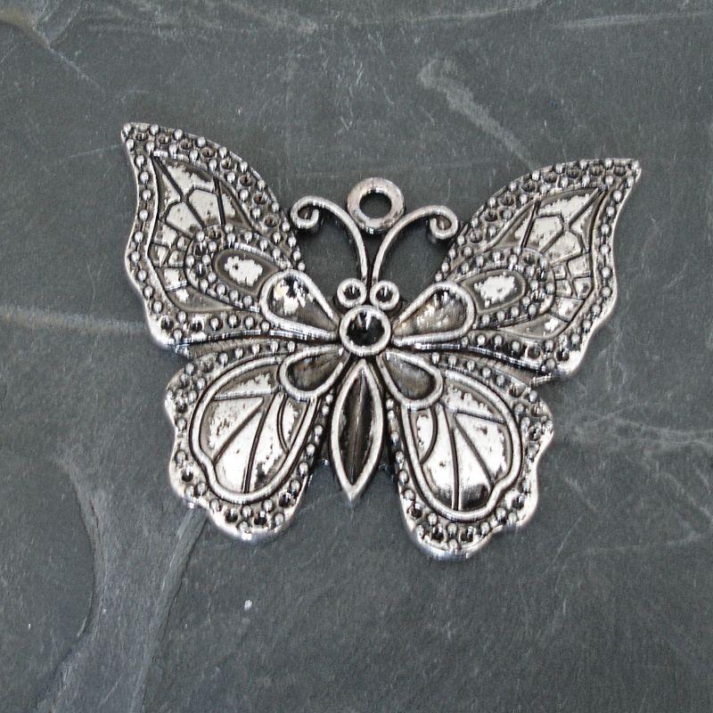 Přívěsěk velký motýl cca 51x40 mm - starostříbrný