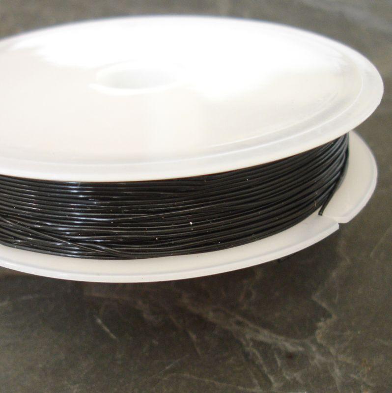 Pruženka silikonová cca 0,5 mm - černá - 2 m