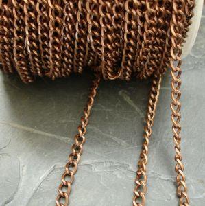 Řetízek twist cca 6x4,4mm - staroměděný
