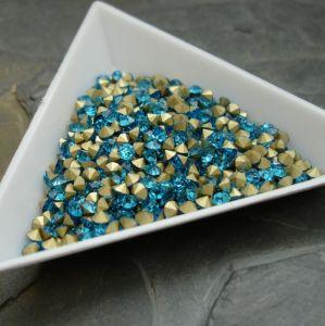 Skleněné šatony cca 2,4 - 2,5 mm - modrozelené - 50 ks