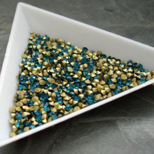 Skleněné šatony cca 3,2 - 3,3 mm - modrozelené - 50 ks