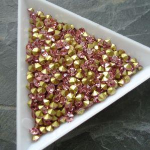 Skleněné šatony cca 3,4 - 3,5 mm - sv. růžové - 25 ks