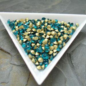 Skleněné šatony cca 3,8 - 4,0 mm - modrozelené - 25 ks