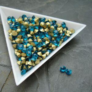 Skleněné šatony cca 4,2 - 4,4 mm - modrozelené - 25 ks