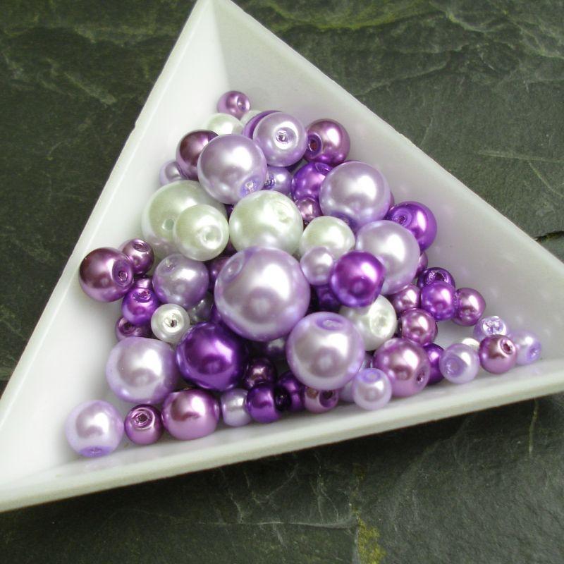 Skleněné voskované kuličky - mix batev a velikostí - fialový - 30 g
