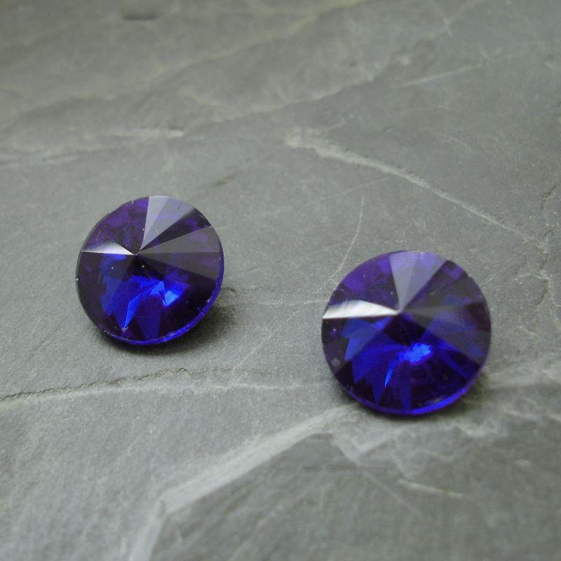 Skleněný broušený kamínek rivoli 16mm - modrý