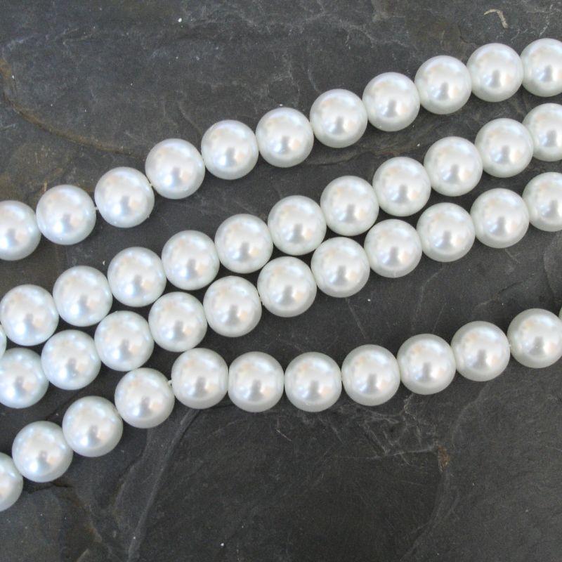 Voskované kuličky cca 14mm - bílé - 5 ks