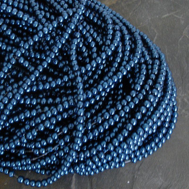 Voskované kuličky cca 3mm - modré petrolejové