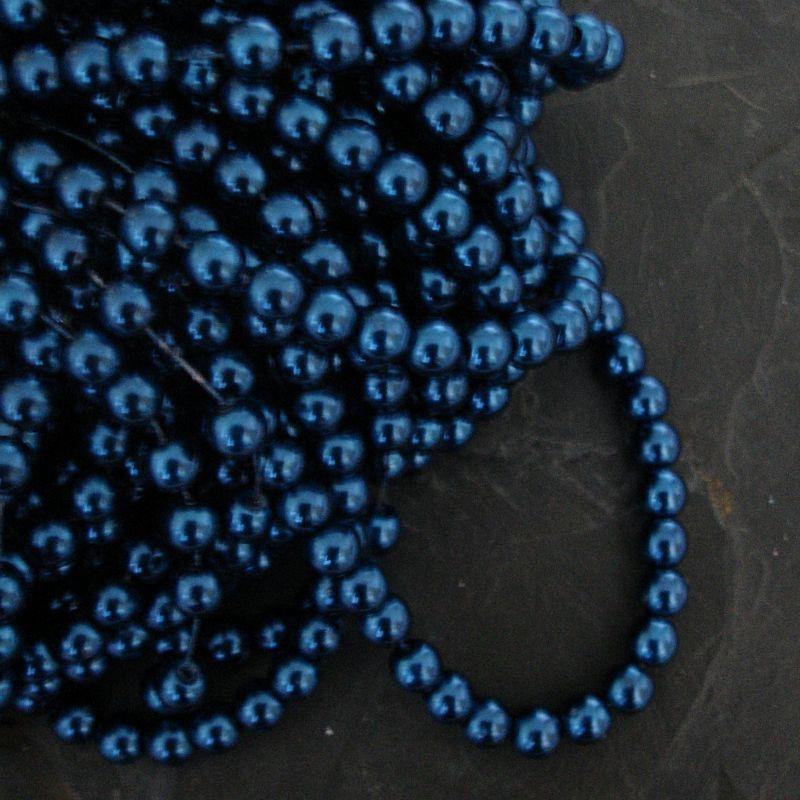 Voskované kuličky cca 6mm - modré petrolejové - 50 ks