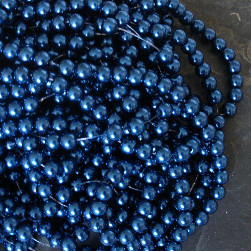 Voskované kuličky cca 8mm - modré petrolejové - 20 ks