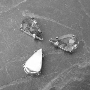 Našívací akrylové kamínky 13x8mm v kotlíku - modré - 1 ks