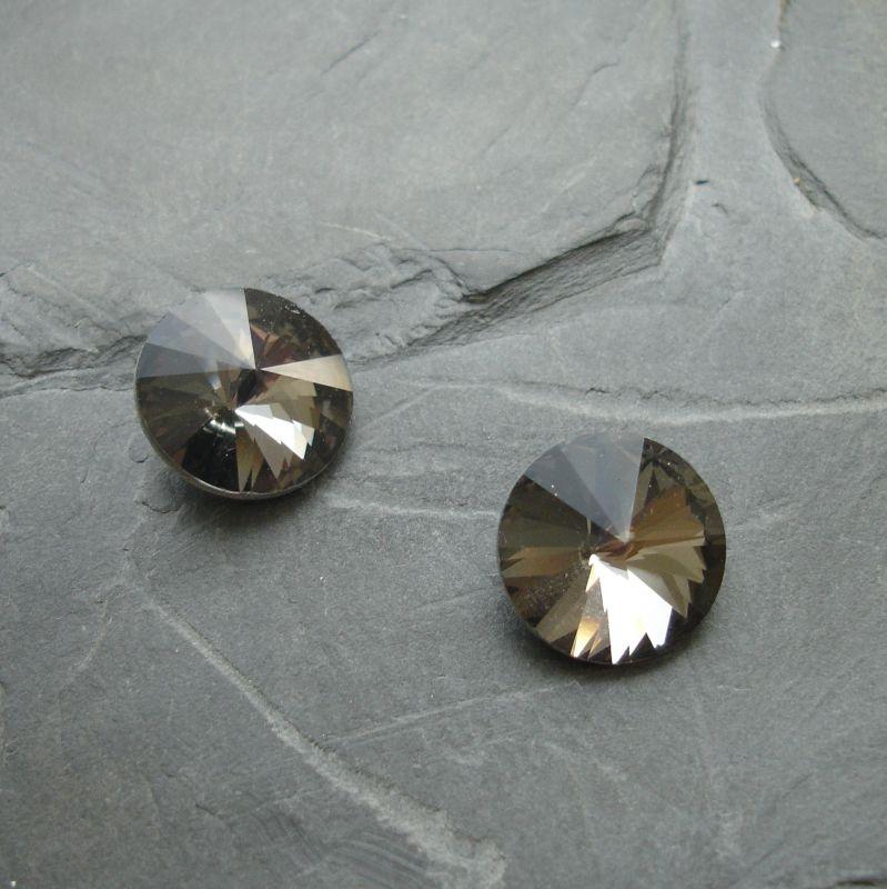 Skleněný broušený kamínek rivoli 10mm - černý kouřový - 2 ks