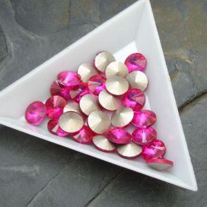 Skleněný broušený kamínek rivoli 12mm - růžový sytý - 1 ks