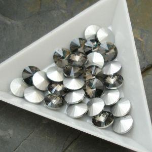 Skleněný broušený kamínek rivoli 12mm - černý kouřový - 1 ks