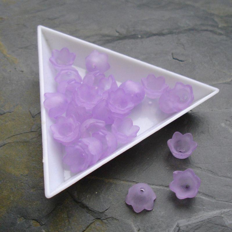 Akrylové zvonečky 10x6mm - fialové - 10 ks