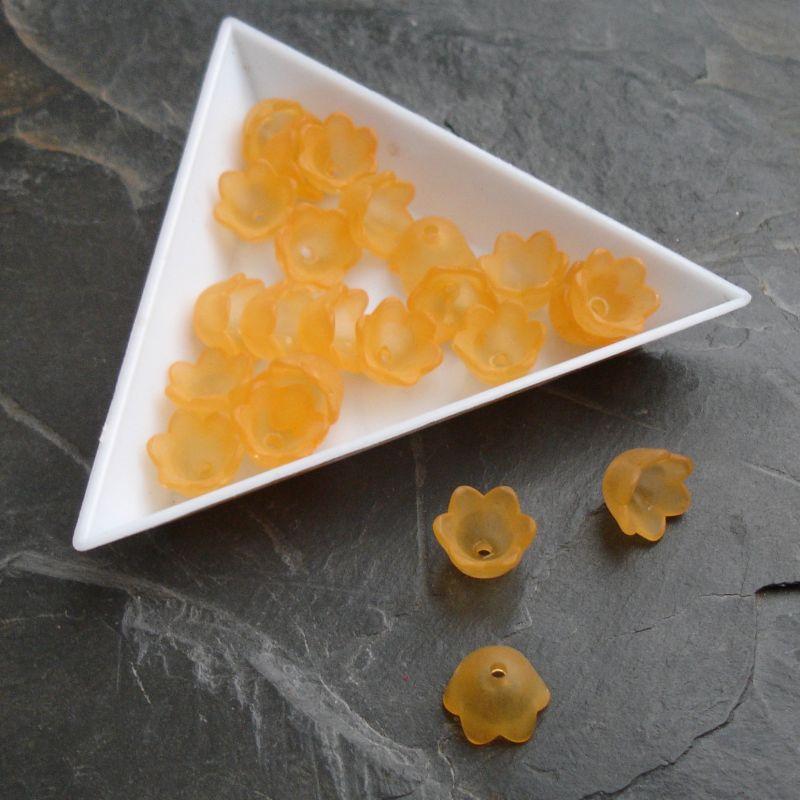 Akrylové zvonečky 10x6mm - oranžové - 10 ks