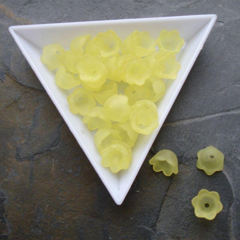 Akrylové zvonečky 10x6mm - žluté - 10 ks