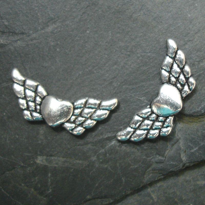 Andělská křídla 22x9mm - starostříbrná - 2 ks