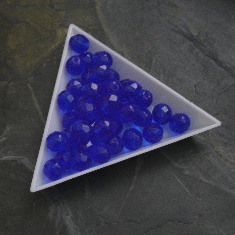 Broušené korálky 8mm - modré - 5 ks