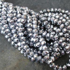 Broušené rondelky cca 6x4mm - stříbrné - ks