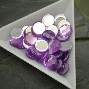Kamínek akrylový 10mm - fialový - 6 ks