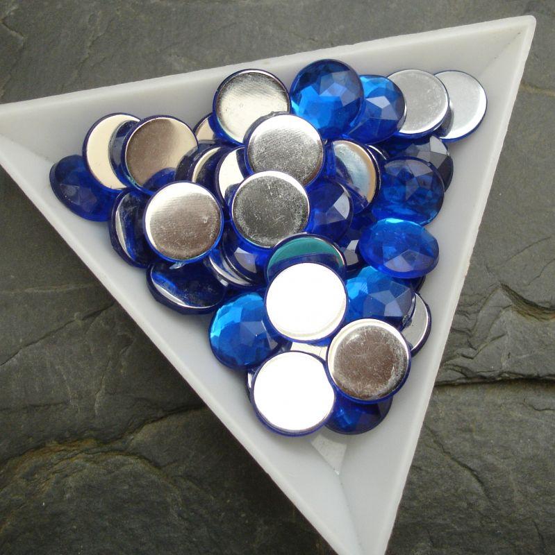 Kabošon akrylový kulatý 10mm - modrý tm. - 6 ks