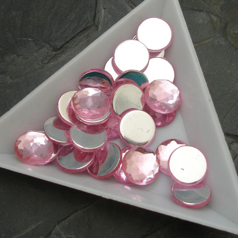Kabošon akrylový kulatý 10mm - růžový - 6 ks
