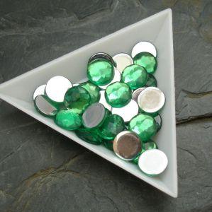 Kamínek akrylový 10mm - zelený tm. - 6 ks