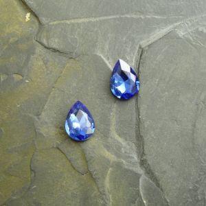 Skleněný broušený kamínek 10x14mm - modrý