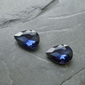 Skleněný broušený kamínek 10x14mm - modrý tmavý