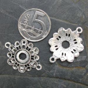 Konektor, mezikus květ 31,5x23mm - starostříbrný - 1 ks