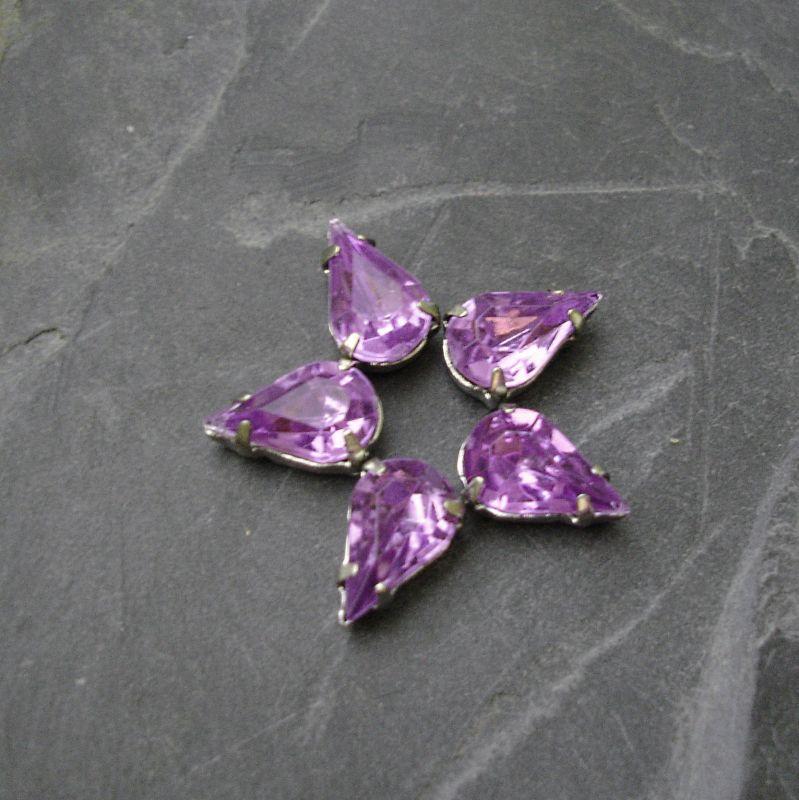 Našívací akrylové kamínky 10x6mm v kotlíku - fialové - 1 ks