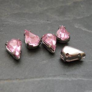 Našívací akrylové kamínky 10x6mm v kotlíku - světle růžové - 1 ks